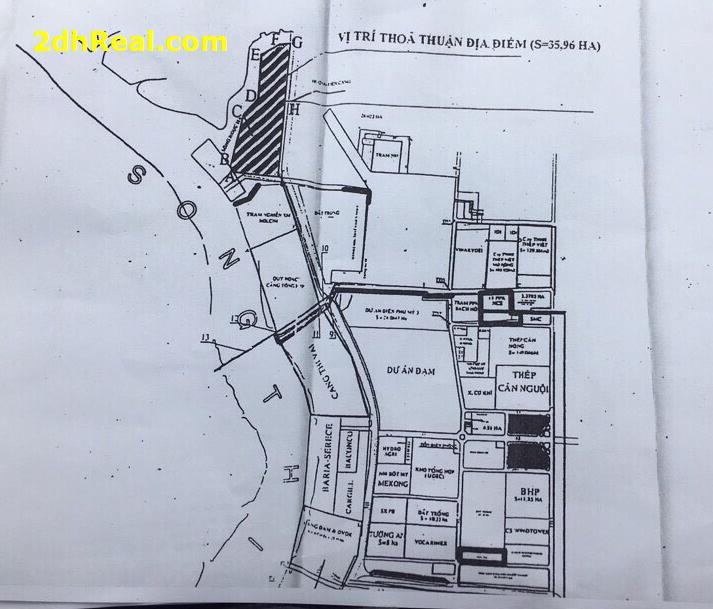 Bán dự án cảng thuỷ nội địa và kho bãi Hồng Long 35,8 hecta sông Thị Vải huyện Tân Thành Bà Rịa – Vũng Tàu
