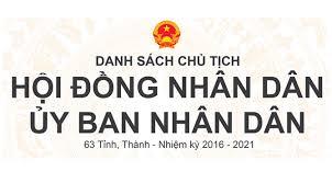Danh sách Chủ tịch Ủy ban nhân dân tỉnh Việt Nam nhiệm kì 2016-2021